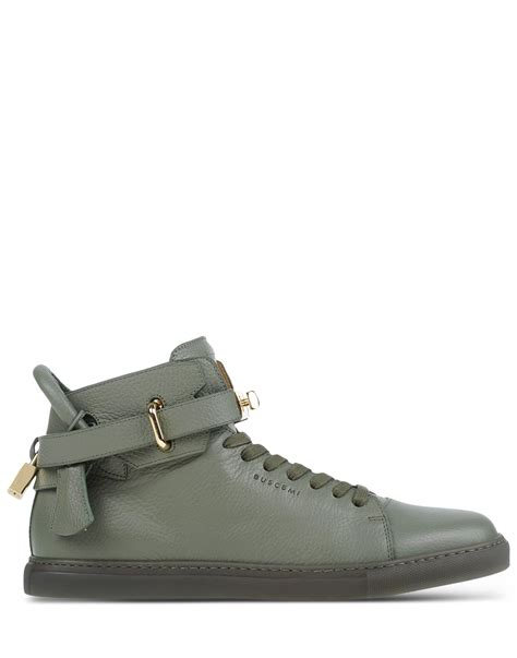 buscemi mens sneakers buscemi leather high top sneakers in green for