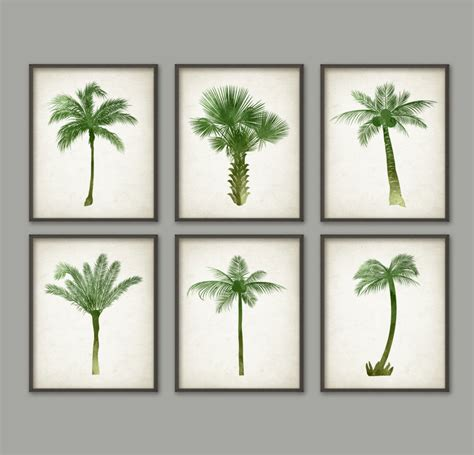 palm tree botanical wall print set of 6 modern home