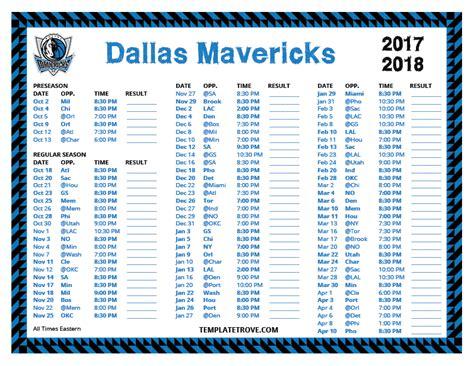 printable mavericks schedule printable 2017 2018 dallas mavericks schedule