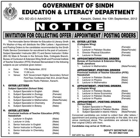 Ppsc Offer Letters Government Of Sindh Education And Literacy Department