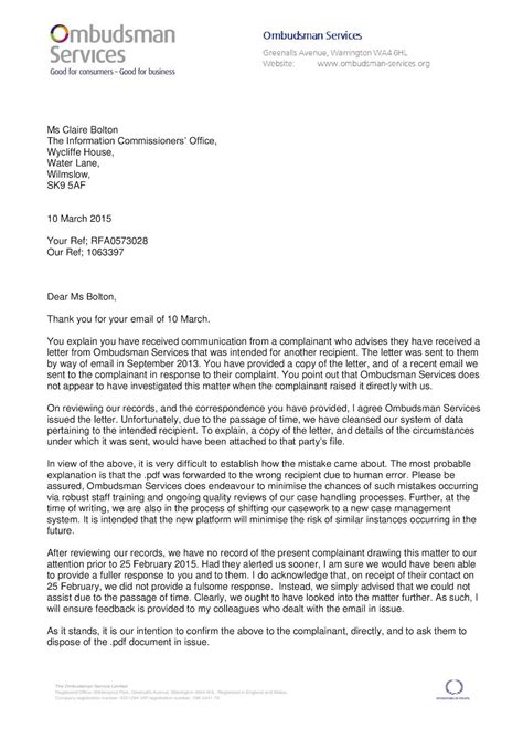 ombudsman letter template calam 233 o david shaw of executive office ombudsman