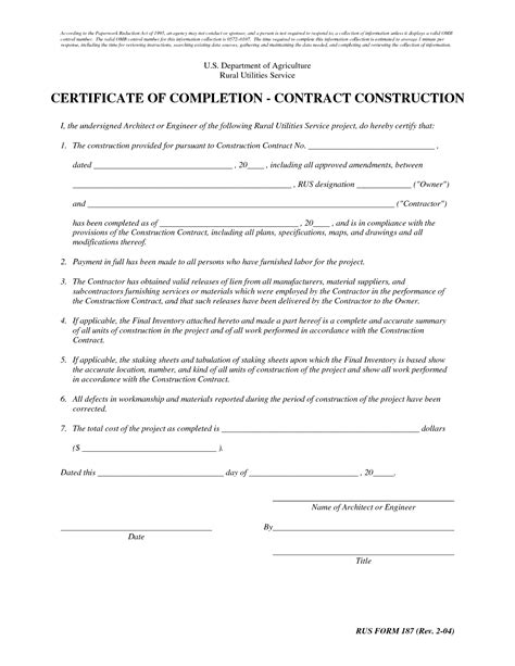 Letter For Work Completion certificate of completion construction templates 28