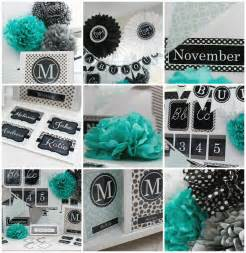 turquoise black gray classroom theme and decor by