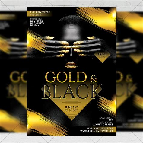 Gold And Black Party Club A5 Flyer Template Exclsiveflyer Free And Premium Psd Templates Gold Flyer Template