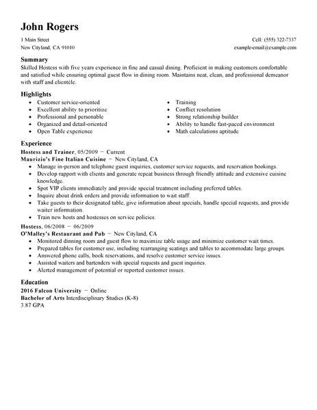 host hostess resume exle restaurant bar sle