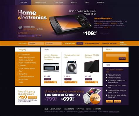 electronics store virtuemart template 27330