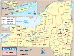 New York County Map by New York Counties And County Seats Map By Maps Com From