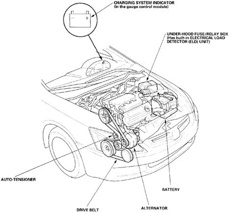 schematic     engine  hood  serpentine belt  honda accord lx