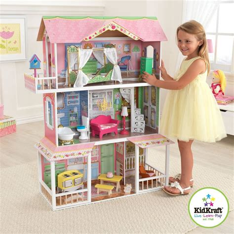 barbie sized doll house barbie size wood dollhouse with 13 pc furniture playhouse doll play house new ebay