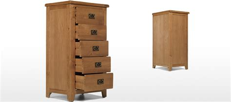 Rustic Oak Drawers by Rustic Oak 5 Drawer Chest Of Drawers Quercus Living