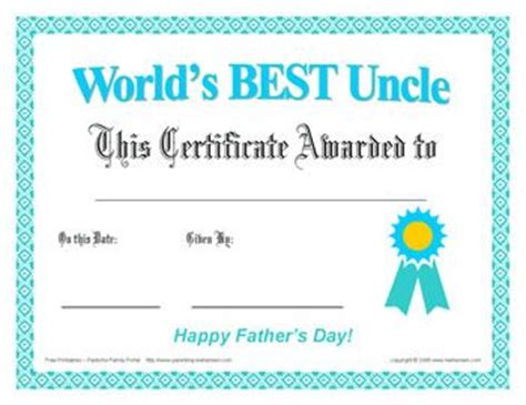 printable birthday cards uncle best uncle father s day certificate free print award