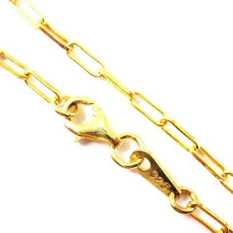22K Gold plated Sterling Silver Necklace, Bracelet, Anklet   Vermeil  Rectangle Link  Long Box