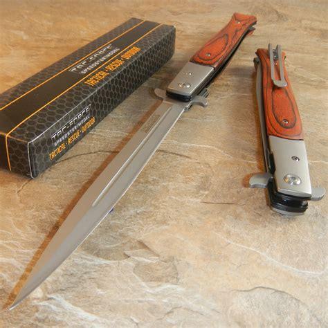 largest pocket knife tac 13 quot large assisted open hardwood