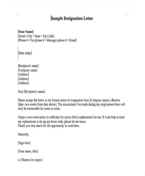Resignation Letter Of Teaching Heartfelt Resignation Letter Template 7 Free Word Pdf Format Free Premium