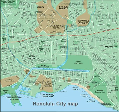 honolulu map honolulu map map