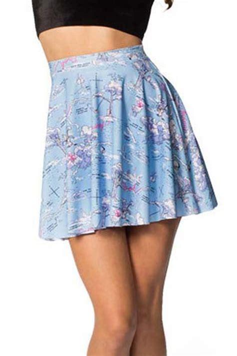 light blue long skirt light blue graphic map printed fresh skirt 018492