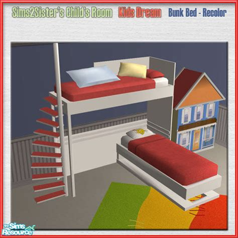 Sims 2 Bunk Beds Sims2sisters S2s Childroomkidsdream Recolor Bunk Bed
