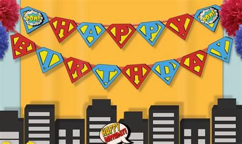 Bunting Flag Happy Birthday Banner Hbd Karakter Superman instant happy birthday banner birthday