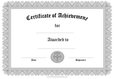 Certificate Of Achievement Templates Free editabe free certificate of achievement