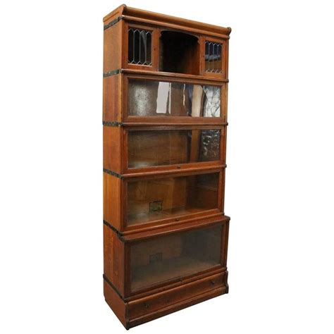 barrister bookcase leaded glass antique oak and leaded glass five stack barrister bookcase