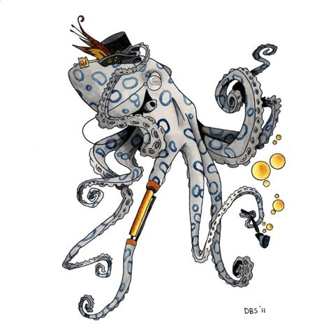 black and white mr fox a pipe design steunk octopus in hat a tobacco pipe