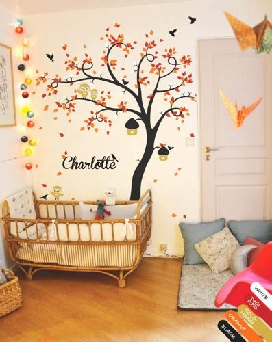 Name Decorations For Nursery Nursery Wall Tree Decal Mural Owls Birds Birdcages Personalized Kr078 Happyplace Children S