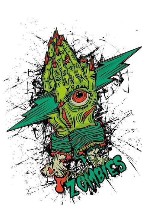 zombie tattoo on the hand tattooimages biz zombie praying hands with an illuminati eye in green