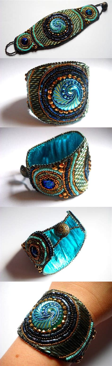 beaded cuffs bead embroidery bracelet cuff turquoise teal blue bead