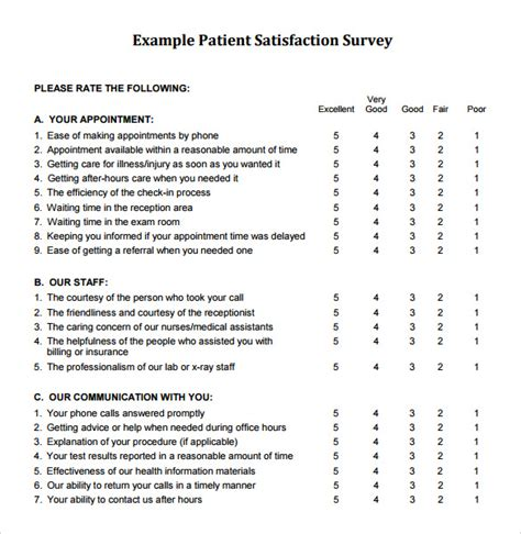 patient satisfaction survey template free 8 client satisfaction survey templates free sle