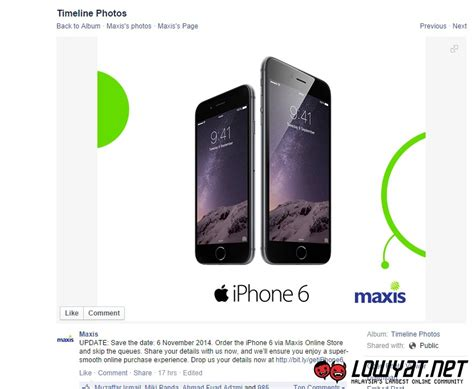 update release date changed maxis to open pre purchase for iphone 6 and iphone 6 plus on 31