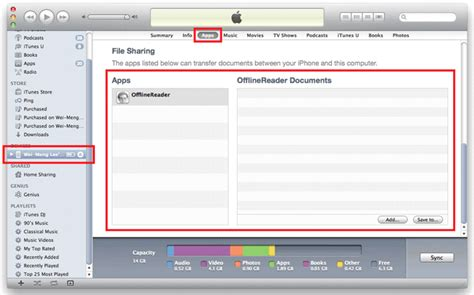 file sharing section of itunes importing exporting documents in ios mobiforge
