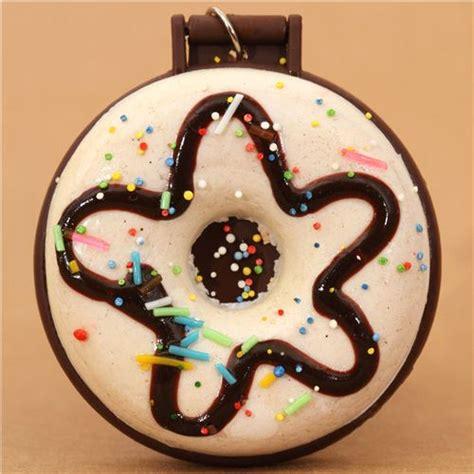 Toys Donuts Whitesugar white sprinkles donut squishy charm with pocket mirror