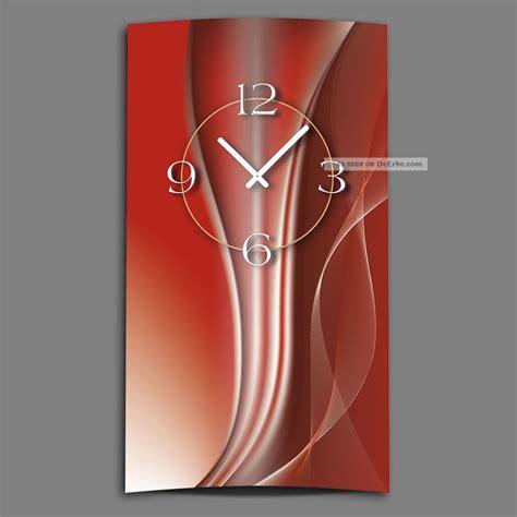 moderne wanduhren design abstrakt kupferrot hochkant designer wanduhr modernes