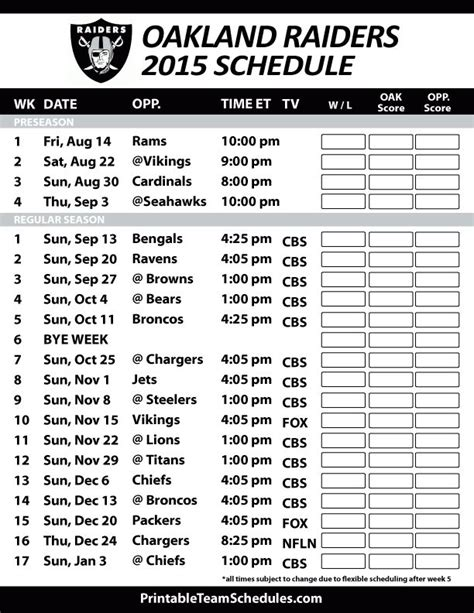 nfl raiders schedule 2015 printable related keywords suggestions for oakland raiders 2015