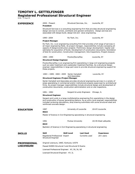 Structural Engineering Resume Template by Structural Engineer Resume Format Resume Template Easy