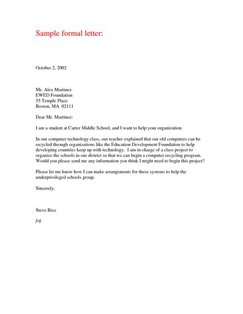 Business Letter Template For Middle School Students Formal Letter Sle Formal Letter Template