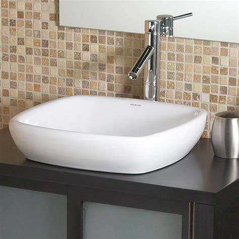 Semi Recessed Bathroom Sinks by Decolav Amalie 1423 Cwh Square Semi Recessed Vitreous China Bathroom Sink