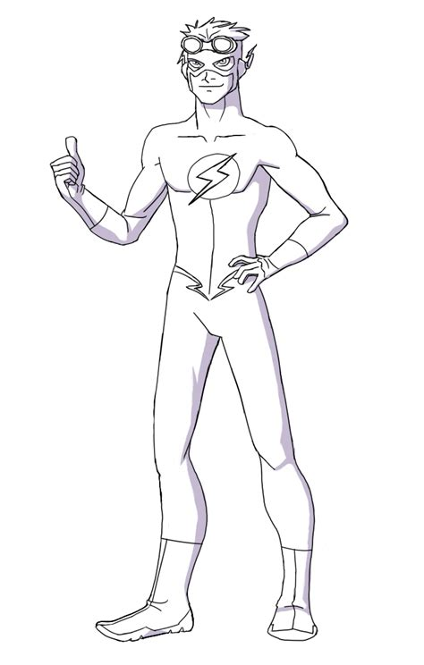 coloring pages of kid flash young justice kid flash how to draw kid flash lineart by