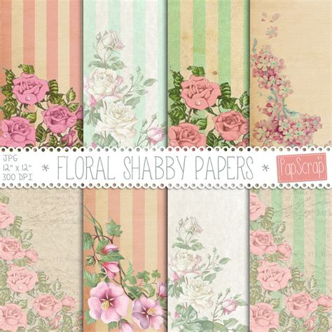 Wallpaper Bunga Floral Flower Shabby Chic Vintage Rustic 210602 shabby chic digital paper quot floral shabby papers quot vintage digital papers with roses on rustic