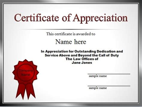 recognition of service certificate template 30 free certificate of appreciation templates and letters