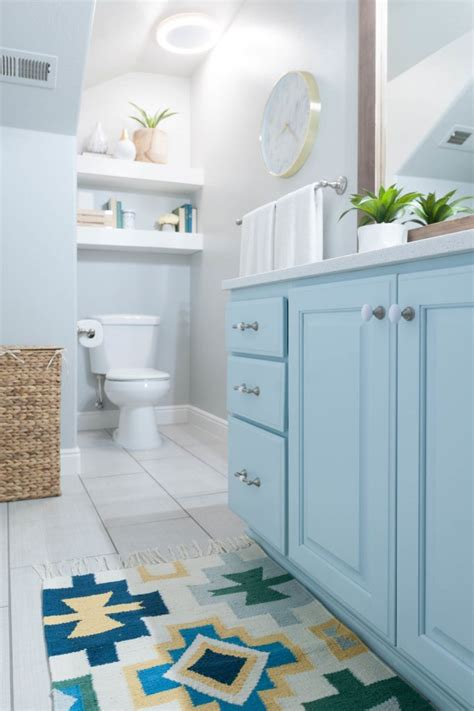 Turquoise Bathroom Decorating Ideas Bathroom Remodel With Pops Of Light Turquoise Yellow And Green