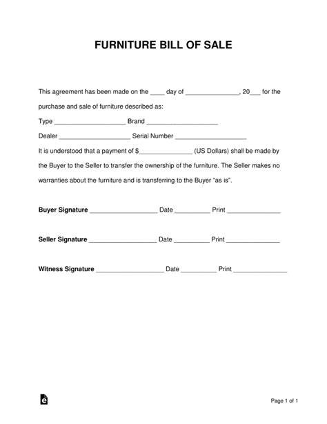 Free Furniture Bill Of Sale Form Pdf Word Eforms Free Fillable Forms Furniture Purchase Agreement Template