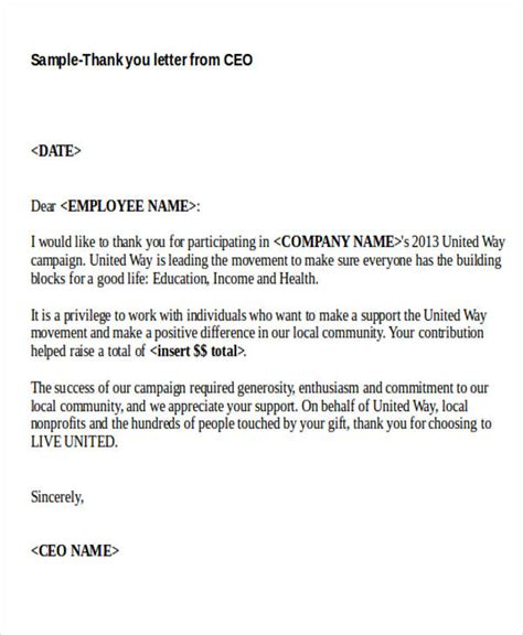 Thank You Letter For With Ceo 40 Sle Thank You Letters