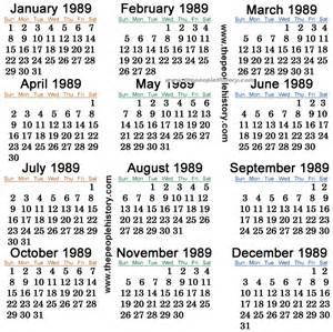 Calendario De 1989 Printable Lunar Calendar Calendar Template 2016