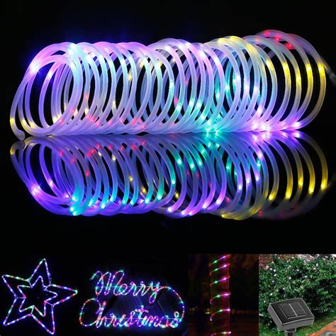 Led Solar Rope Lights Outdoor Save 60 Le 33ft 100 Led Solar Rope Lights Waterproof Outdoor Rope Lights Green Blue