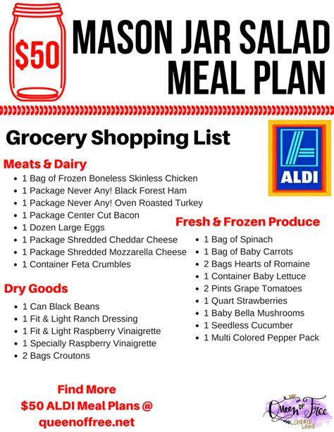 aldi printable shopping list aldi 50 mason jar salad meal plan queen of free