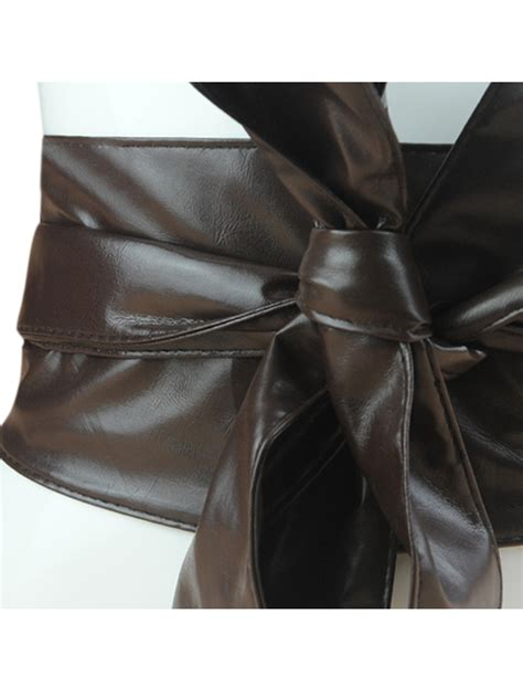 pu leather wide belt wrap self tie bow