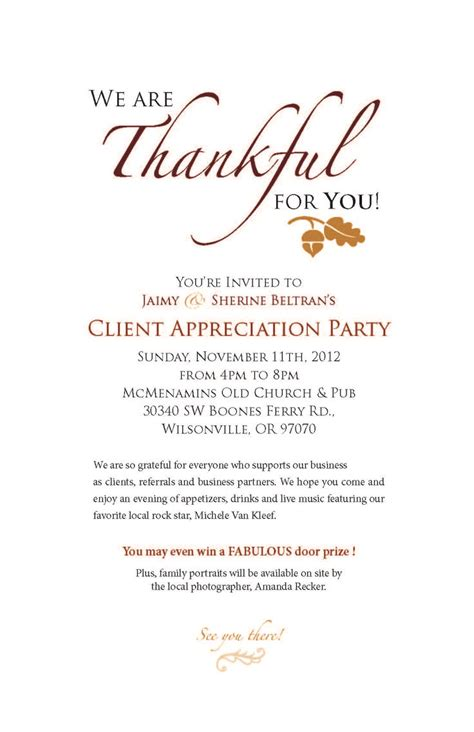 Customer Appreciation Invitation Letter 1000 Ideas About Fall Invitations On Invitations Thanksgiving