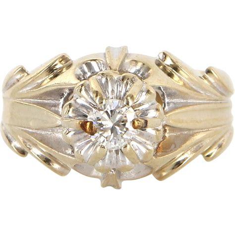 vintage 14 karat white gold tulip cocktail ring