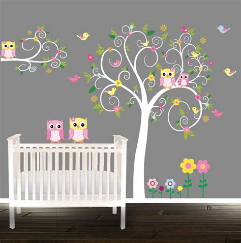 Floral Tree Owl Decal Nursery Wall Stickers Owl Tree Nursery Owl Wall Decals For Nursery